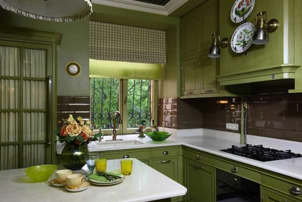 Meble kuchenne w kolorze oliwkowym