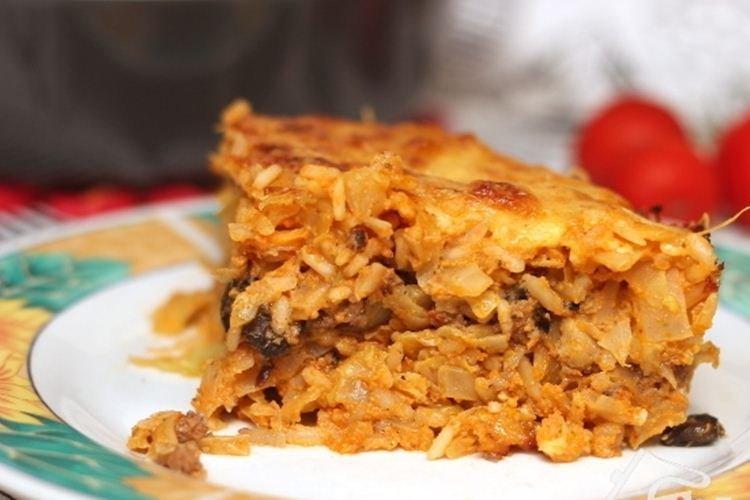 Zapiekanka z kapusty z mieloną wieprzowiną i grzybami - Co ugotować z przepisów na mieloną wieprzowinę
