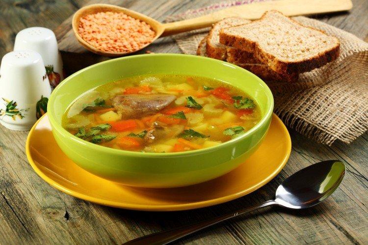 Zupa z soczewicy i serca drobiowego